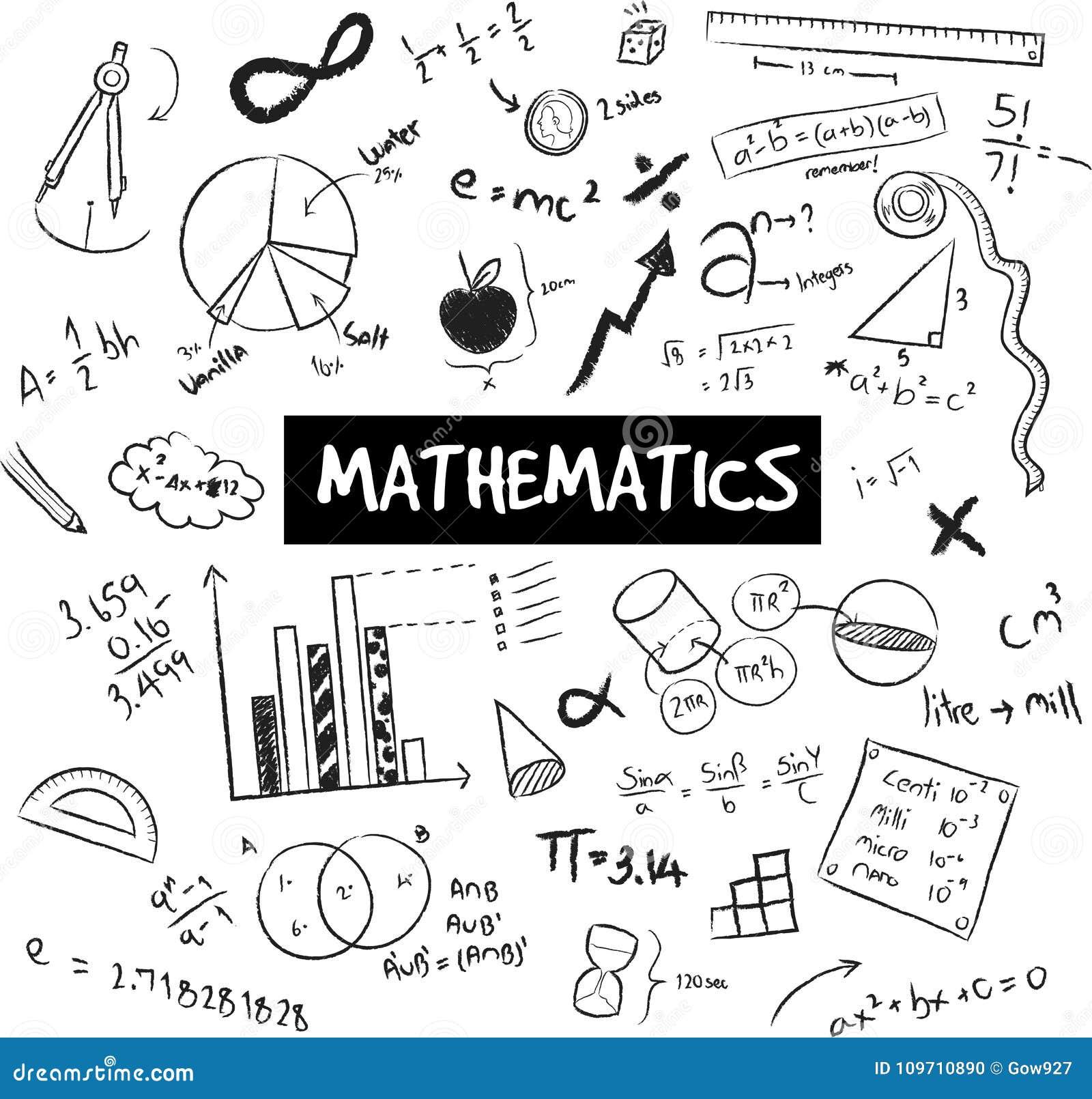 Théorie De Maths Et Griffonnage De Formule Mathématique Et De Modèle Ou De Graphique ...