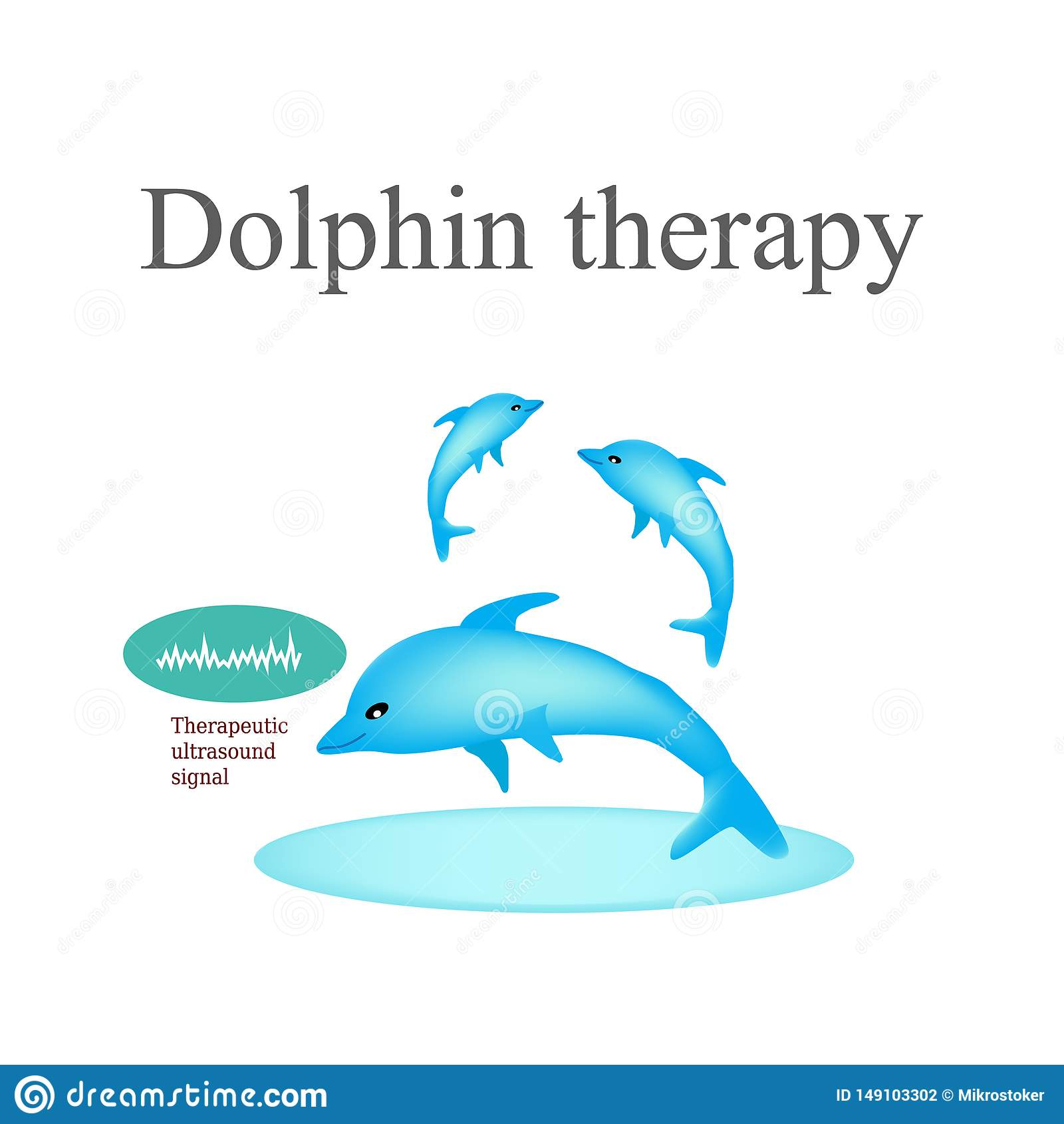 Thérapie de dauphin Illustration de vecteur sur le fond d isolement