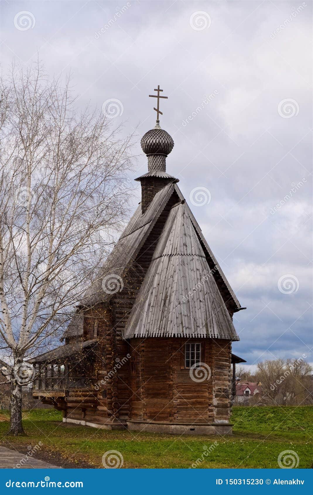 18th århundrade för ortodox kristen gammal träkyrka, Suzdal Ryssland