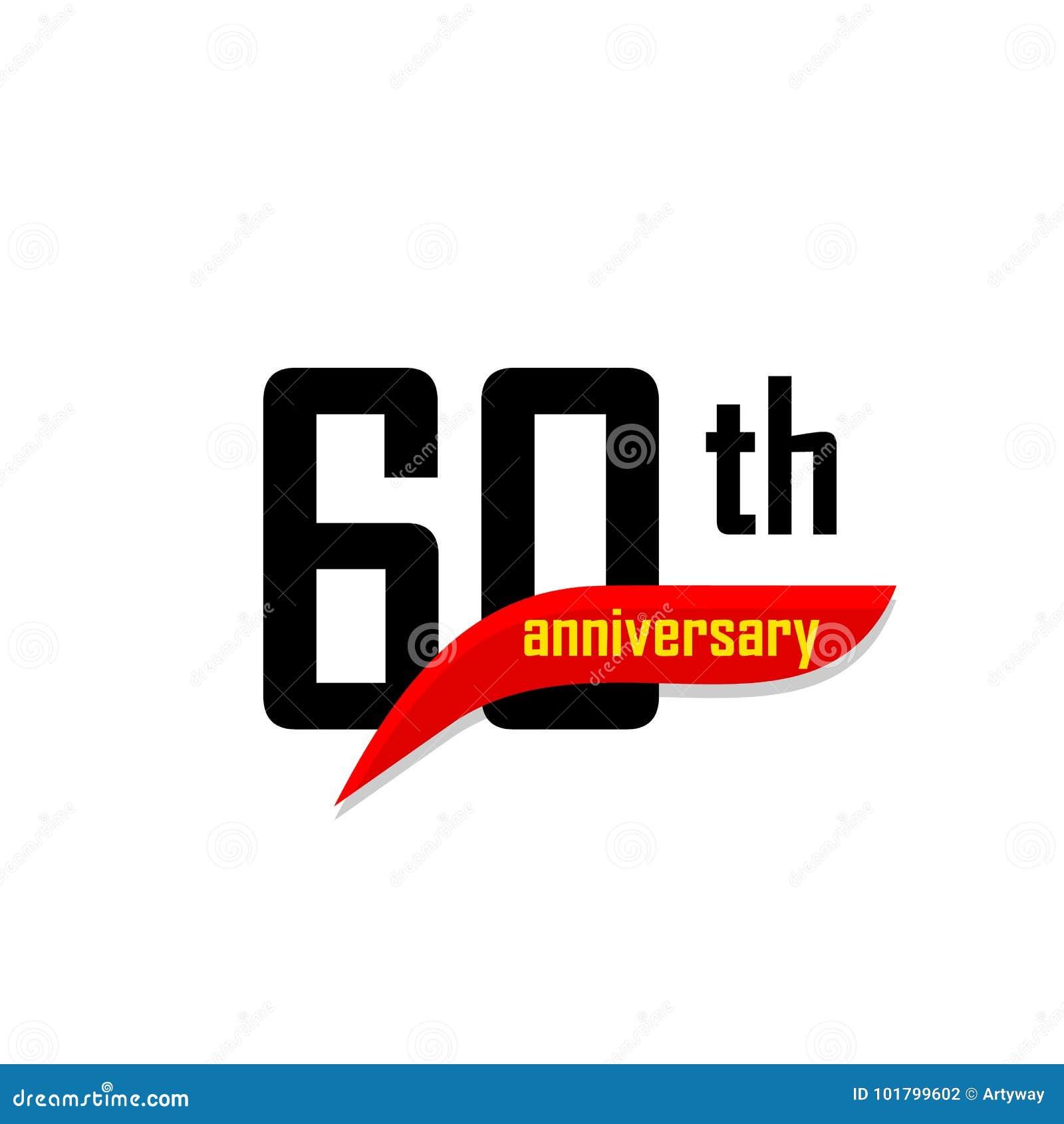 60th Anniversary Abstract Vector Logo. Sixty Happy Birthday Day Icon ...