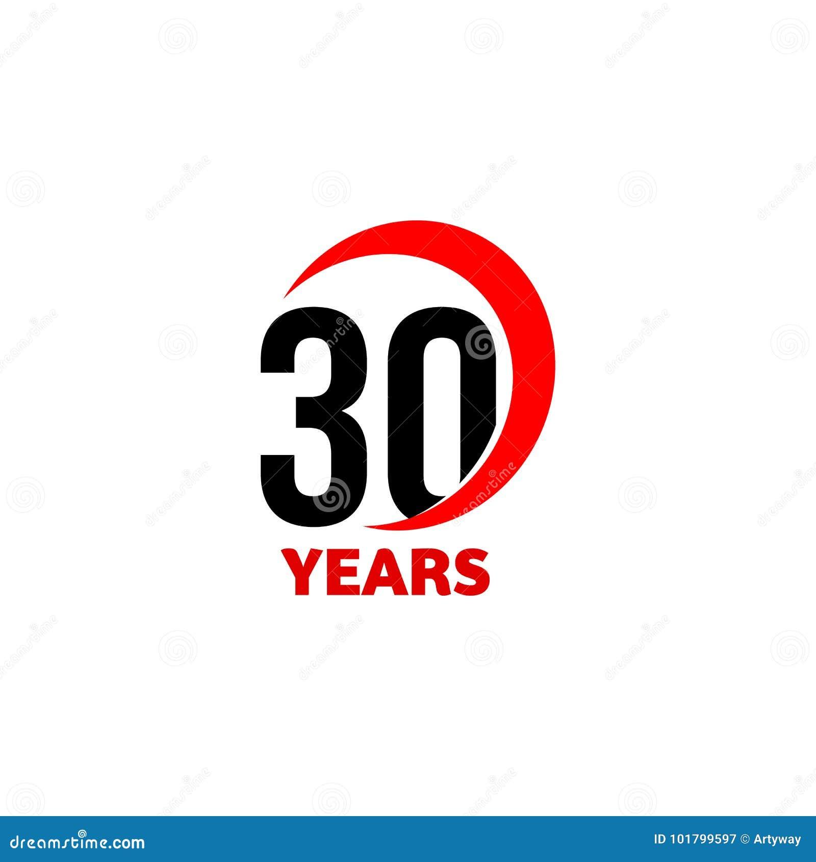 30th Anniversary Abstract Vector Logo Thirty Happy Birthday Day