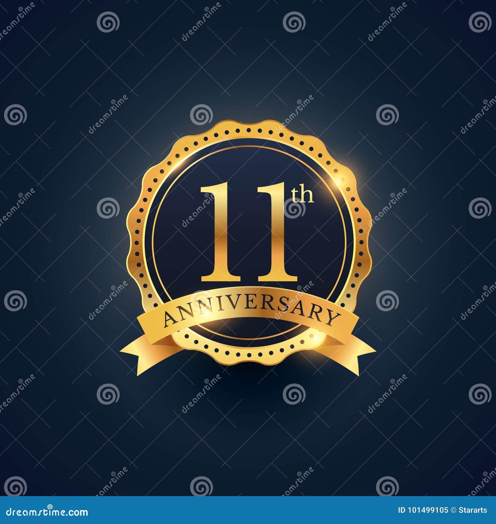 11th Anniversary Celebration Badge Label In Golden Color