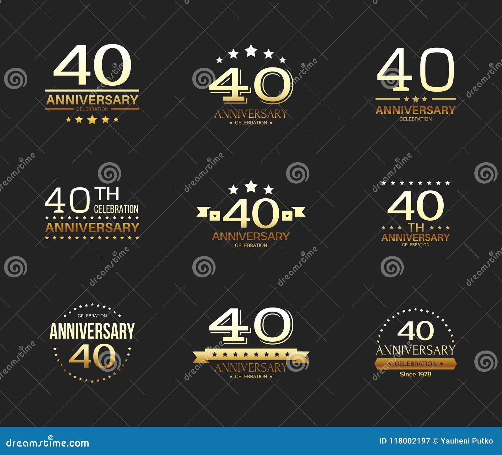 40th Anniversary Celebration Logo Set 40 Year Jubilee Banner Stock