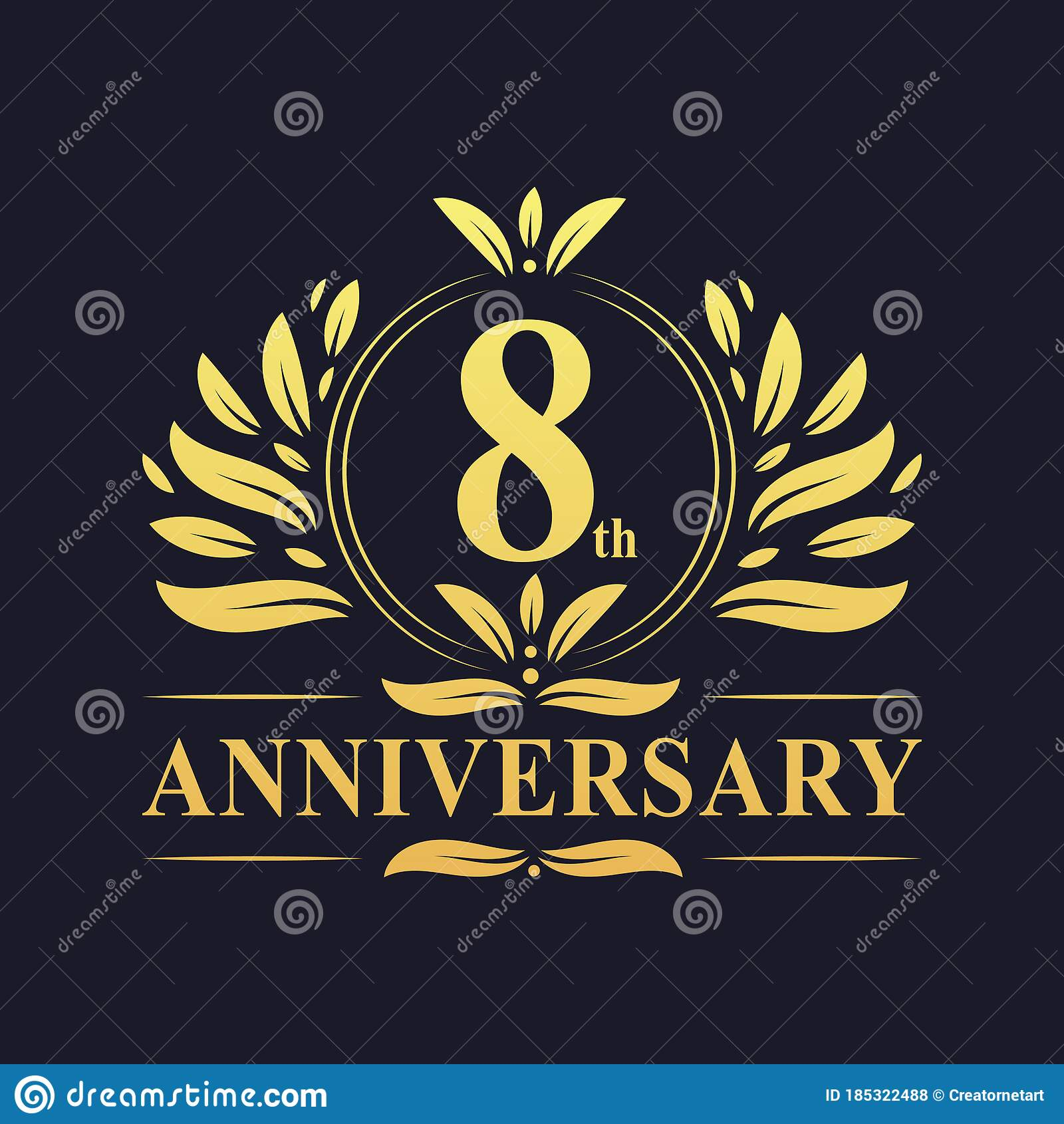 8th Anniversary Design Luxurious Golden Color 8 Years Anniversary Logo Stock Vector Illustration Of Vintage Elegant 185322488