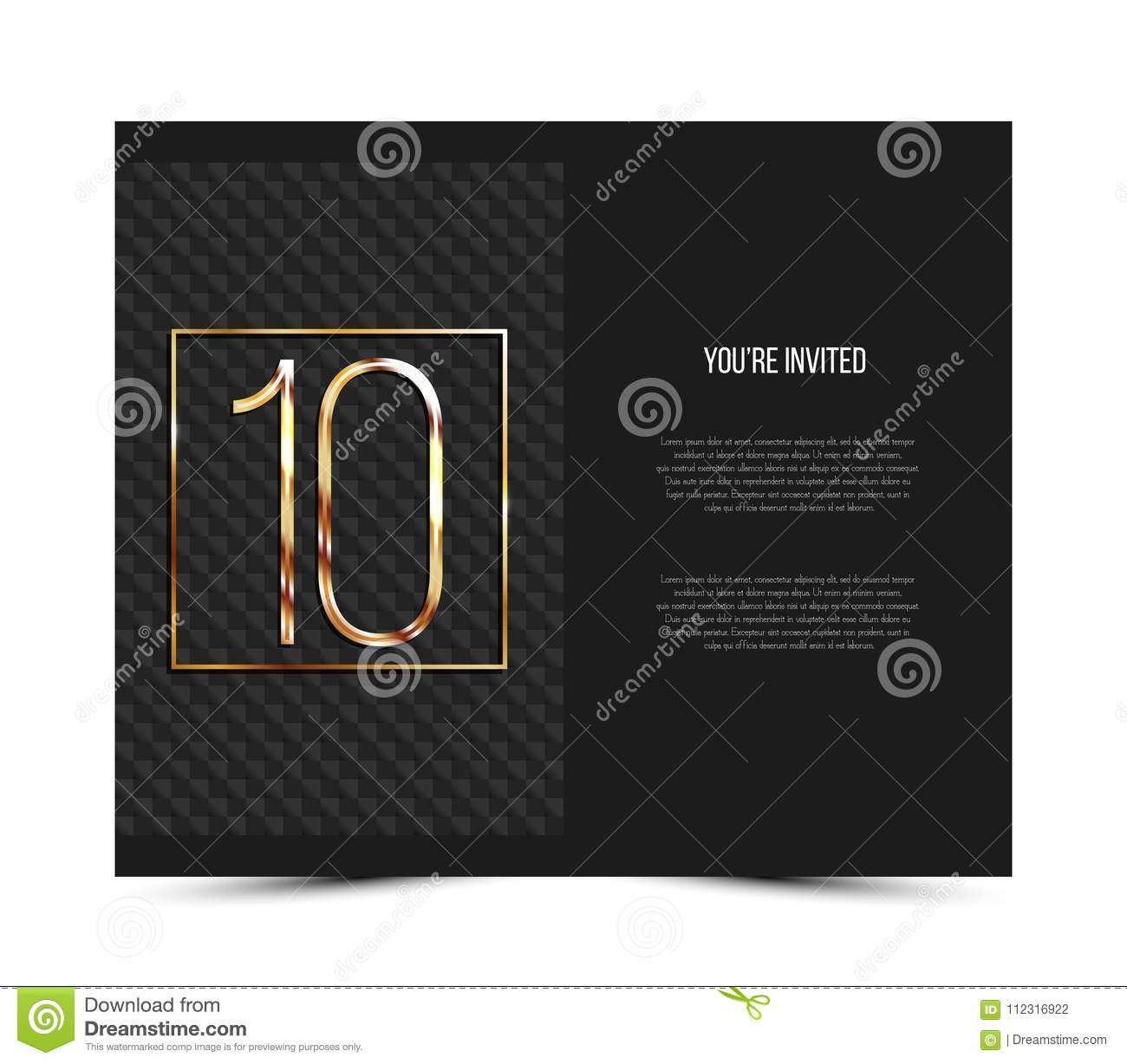 10th anniversary invitation card template vector illustration download 10th anniversary invitation card template vector illustration stock vector illustration of poster stopboris Image collections