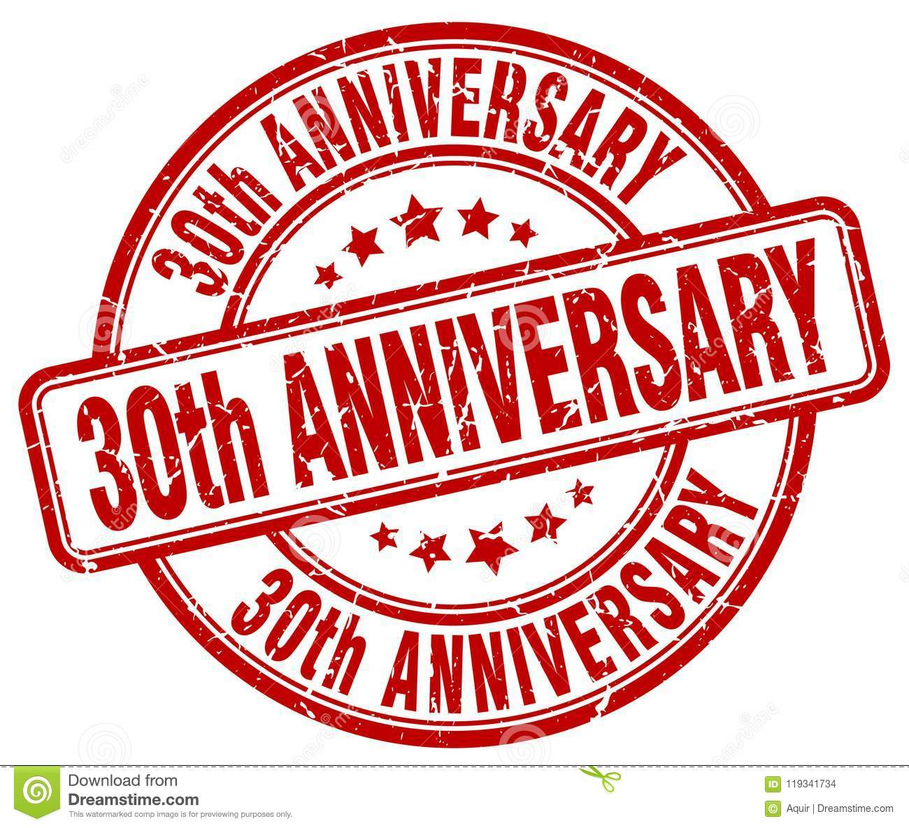 30th Anniversary Red Stamp Stock Vector Illustration Of Year