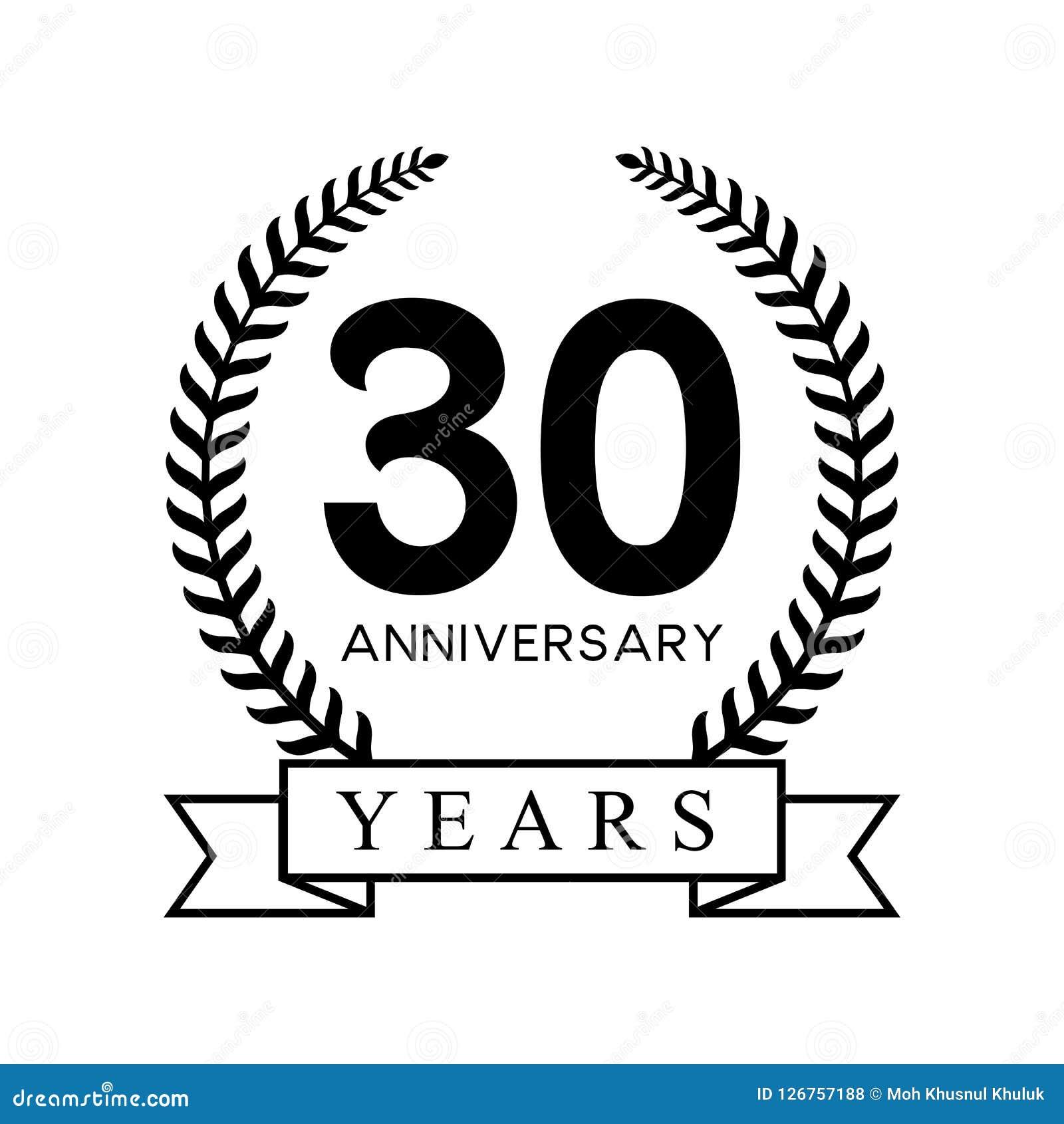 30th Anniversary Years Laurel Wreath Retro Black Color Stock Vector