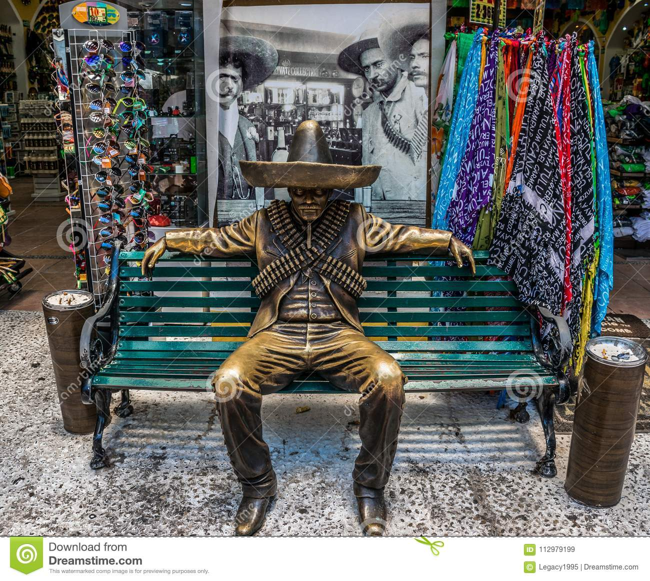 5th Avenue Mexican Gunslinger Statue in Front of Hacienda Tequila in Playa Del Carmen, Mexico