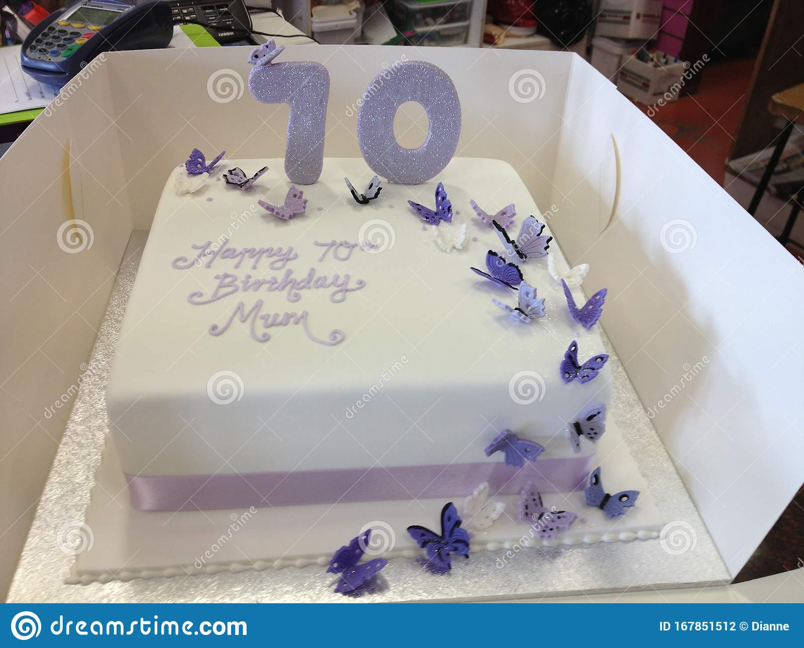 Pleasant 70Th Birthday Cake With Butterflies Stock Photo Image Of 70Th Funny Birthday Cards Online Fluifree Goldxyz