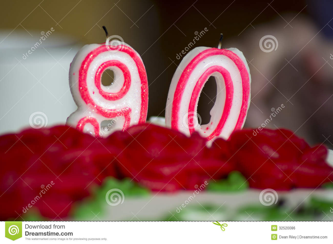 90th Birthday Cake Candles Royalty Free Stock Image