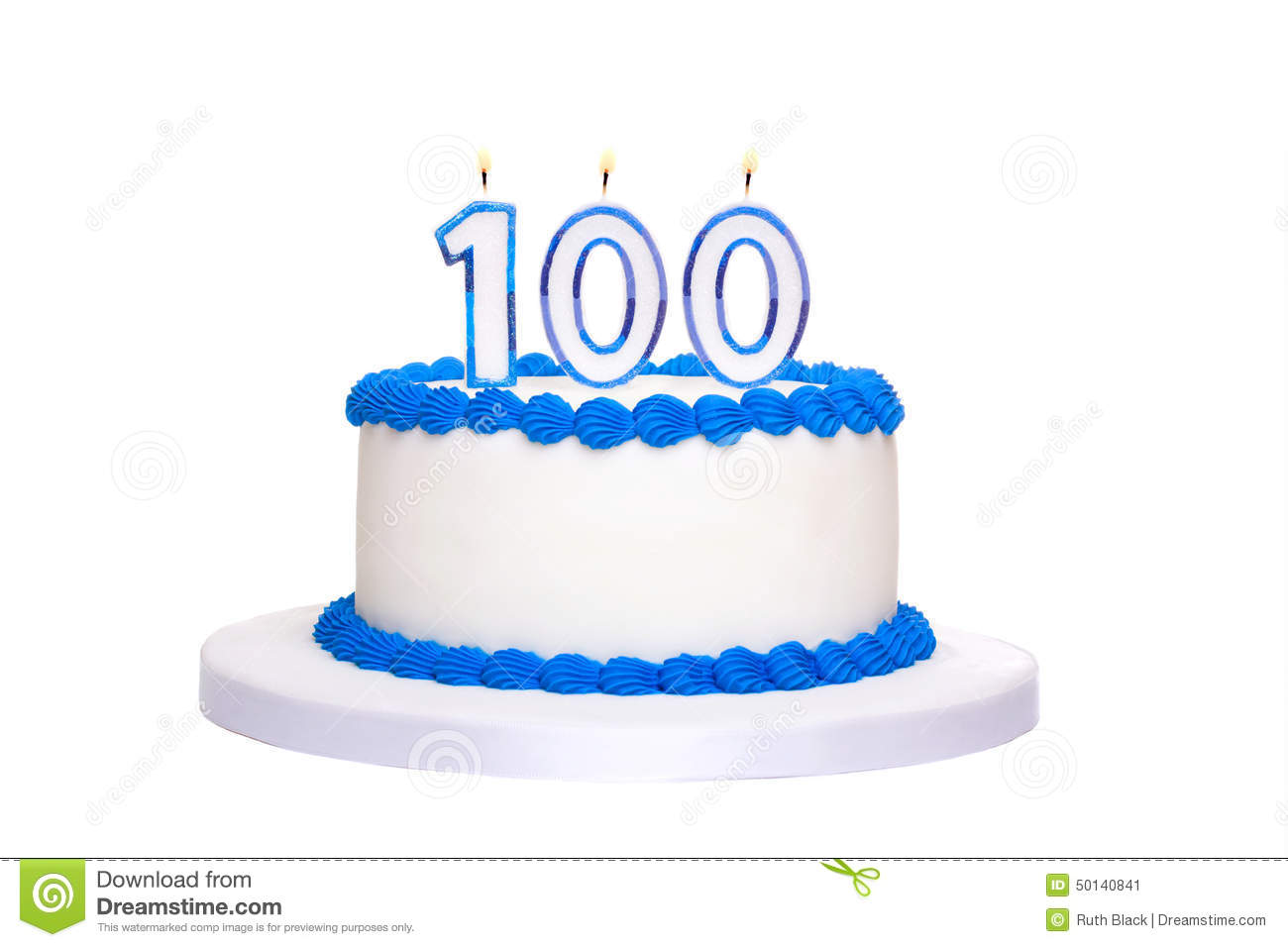 100th Birthday Cake Stock Image Of Blue White