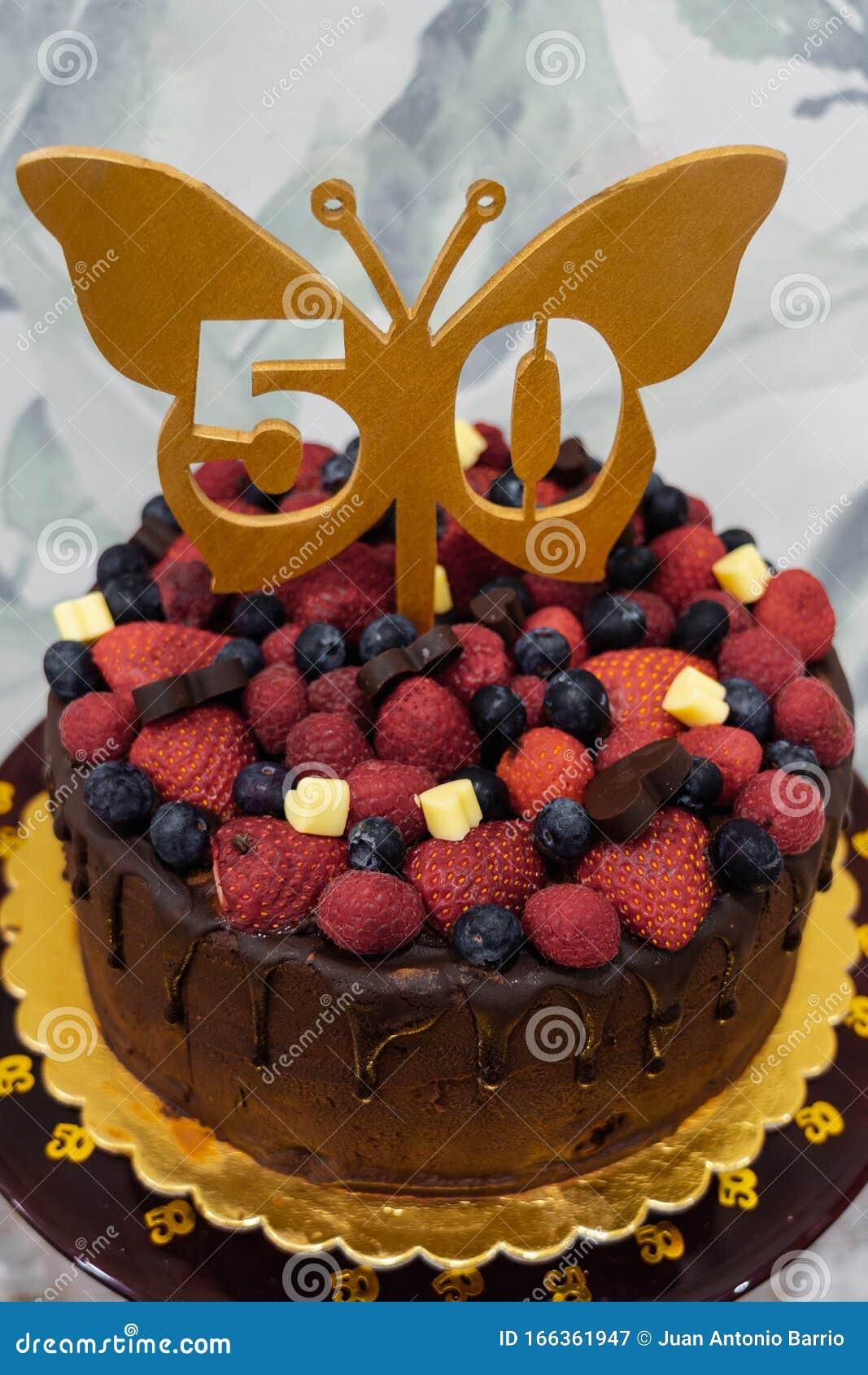 Strange 50Th Birthday Cake With Chocolate Strawberries And Blueberries Personalised Birthday Cards Arneslily Jamesorg