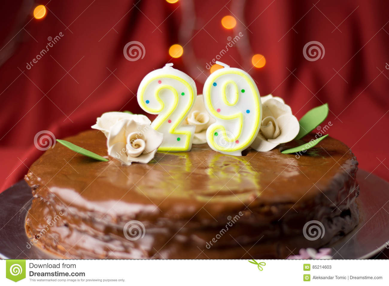 29th Birthday Cake Decorated With Edible Roses Stock Image Image