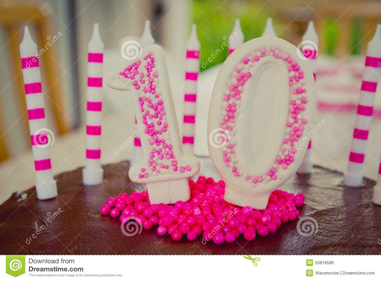10th Birthday Cake Decoration Stock Photo Image 55818586
