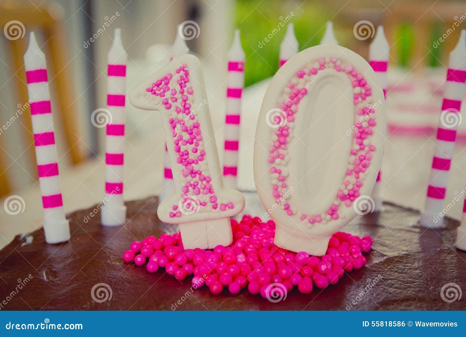 10th Birthday Cake Decoration Stock Photo Image 55818586