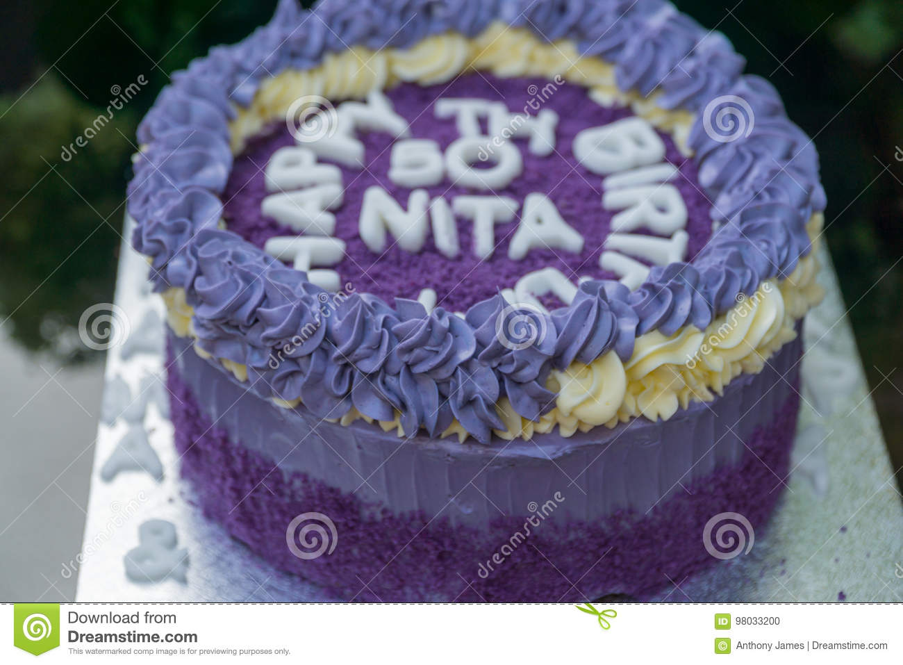 50 Th Birthday Cake Made Out Of Purple Yams Outside On A Table In Garden