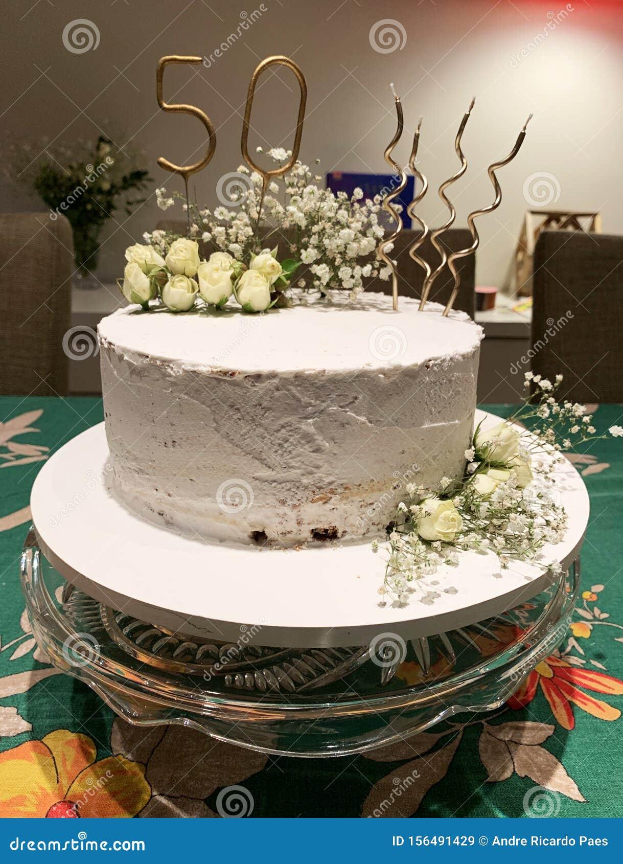Superb 50Th Birthday Cake Stock Image Image Of Food Flower 156491429 Personalised Birthday Cards Vishlily Jamesorg