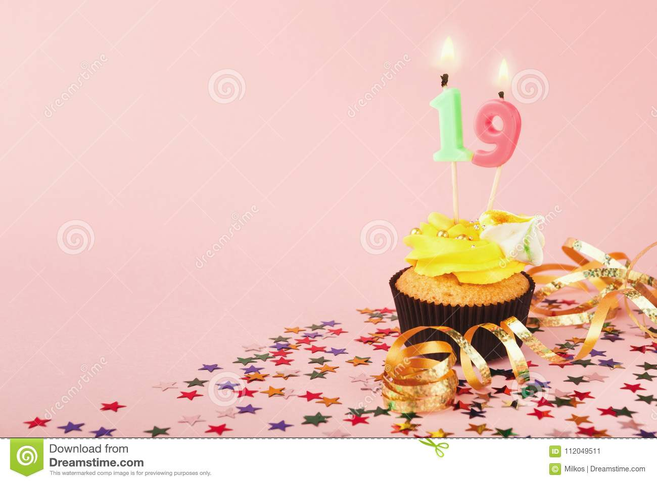 19th Birthday Cupcake With Candle And Sprinkles Stock Image Image