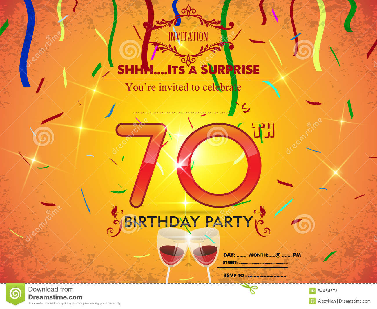 70th Birthday Party Card Template Vector Image 54454573 – Birthday Party Card Template