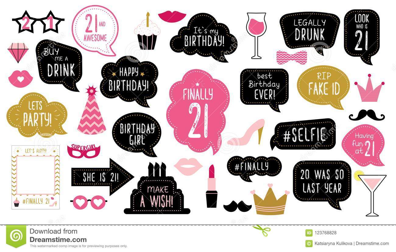 21th Birthday Party Photo Booth Props Set Stock Vector