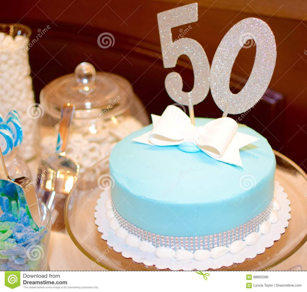Awe Inspiring Fancy 50Th Birthday Cake Stock Photo Image Of Blue Anyblue Funny Birthday Cards Online Alyptdamsfinfo