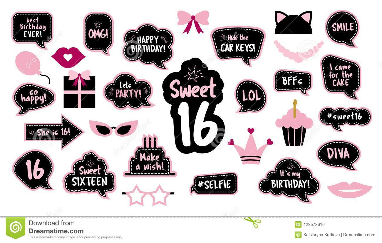 16th Birthday Photobooth Props Set For Sixteen Stock Vector