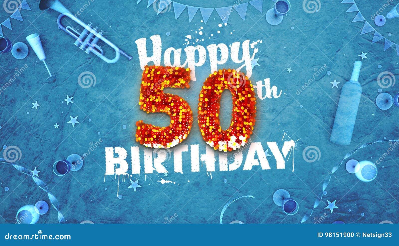 50th cartão de aniversário feliz com detalhes bonitos
