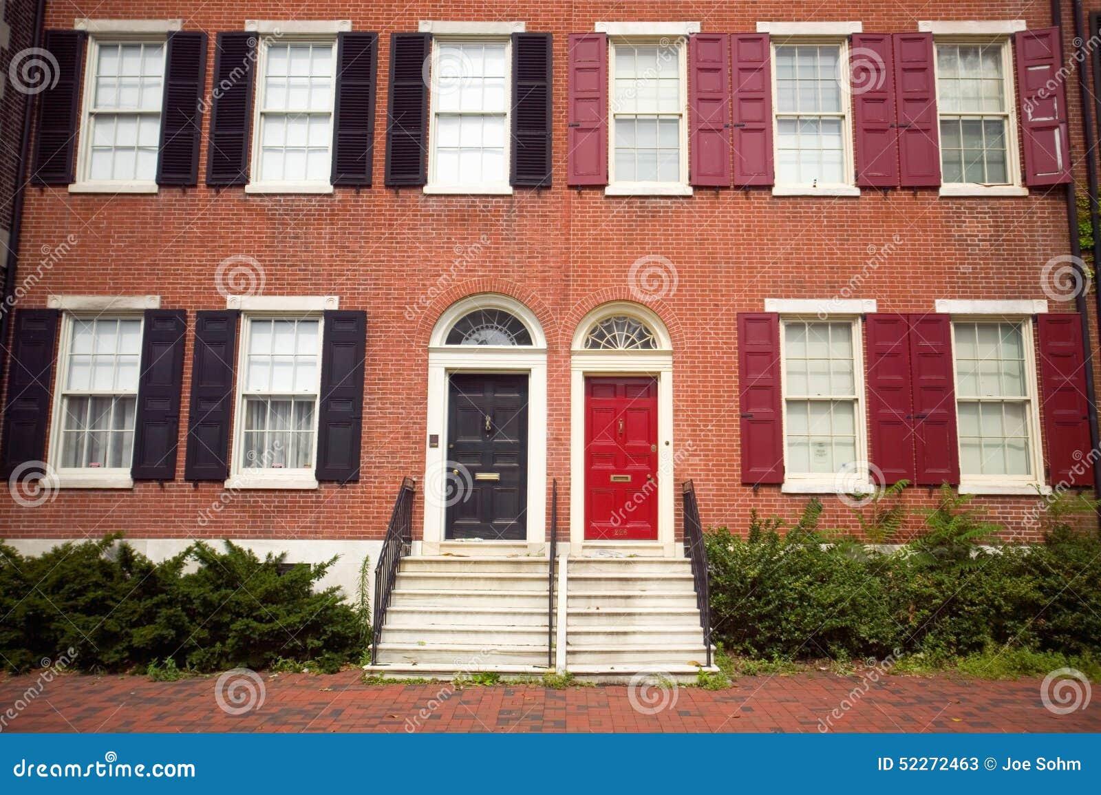 house exterior in philadelphia historic district stock
