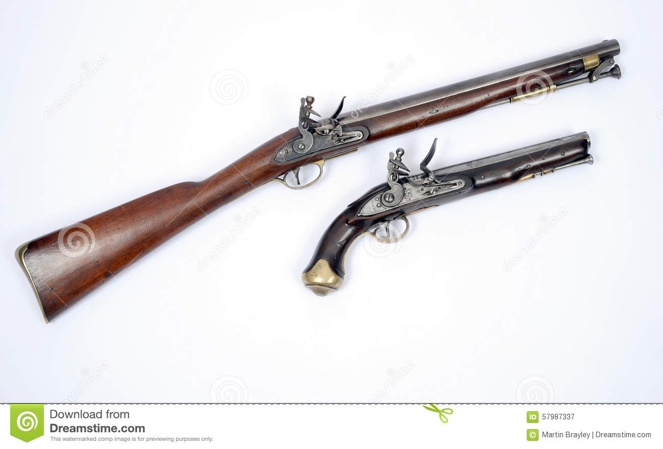 19th Century Flintlock Cavalry Carbine And Pistol Editorial