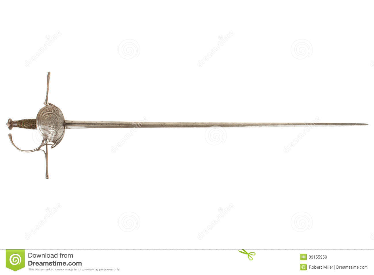 17th century spanish cup hilt rapier isolated on white background