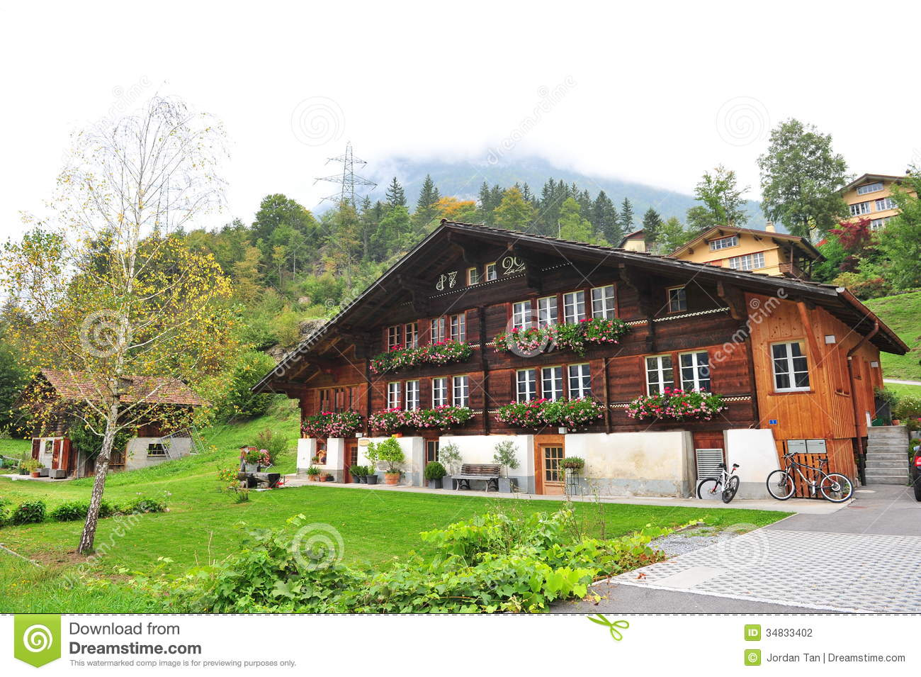 18th century traditional swiss house in interlaken stock for Swiss homes