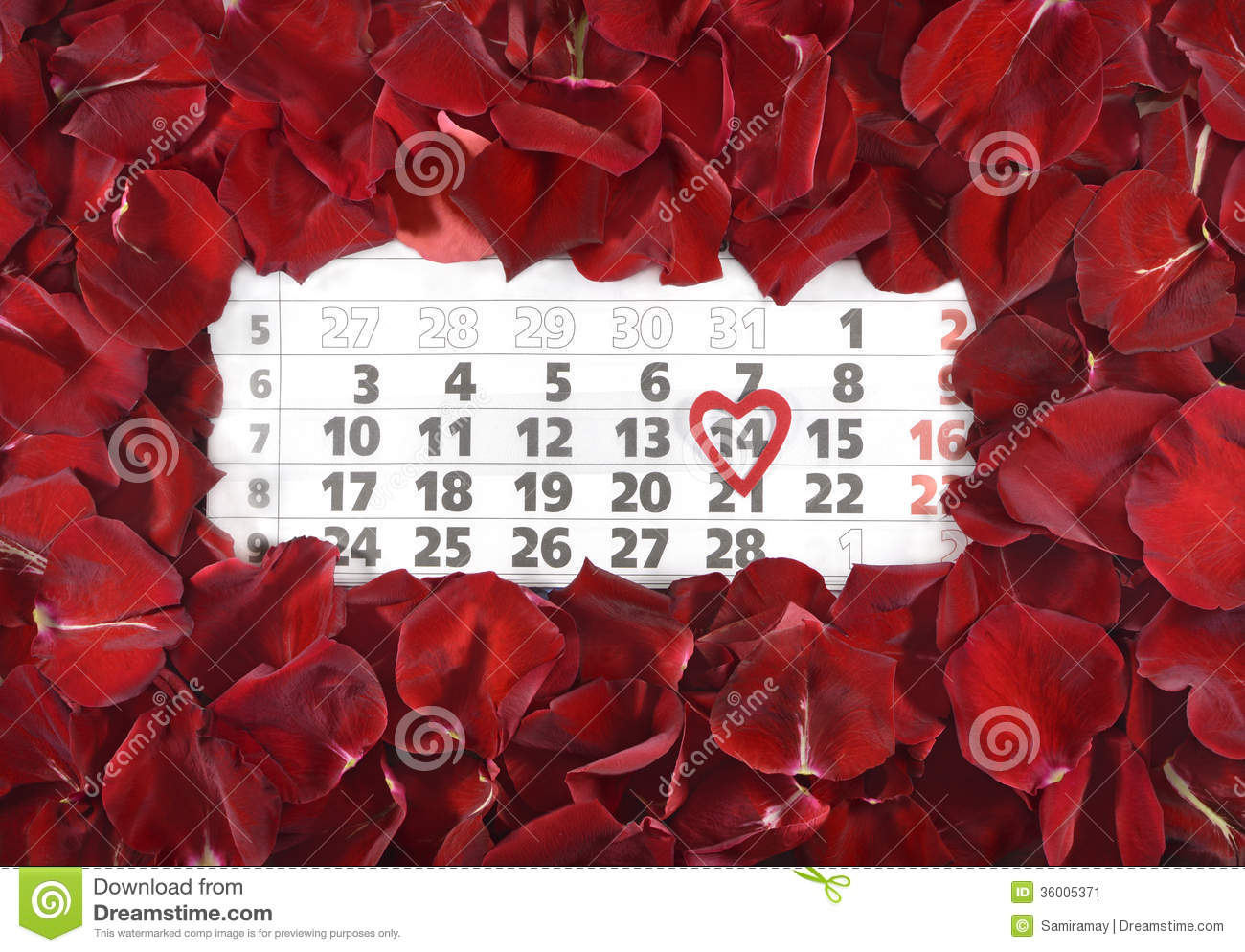 Calendar Rose Day : The th of february stock image