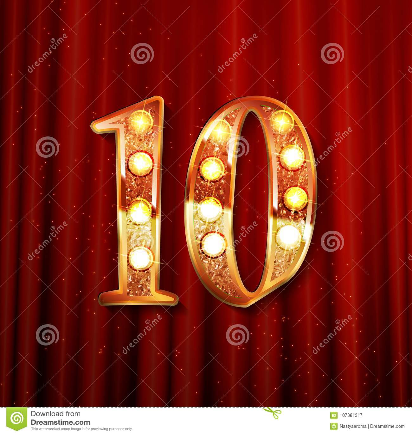 10th Golden Anniversary Logo Stock Vector Illustration Of Icon