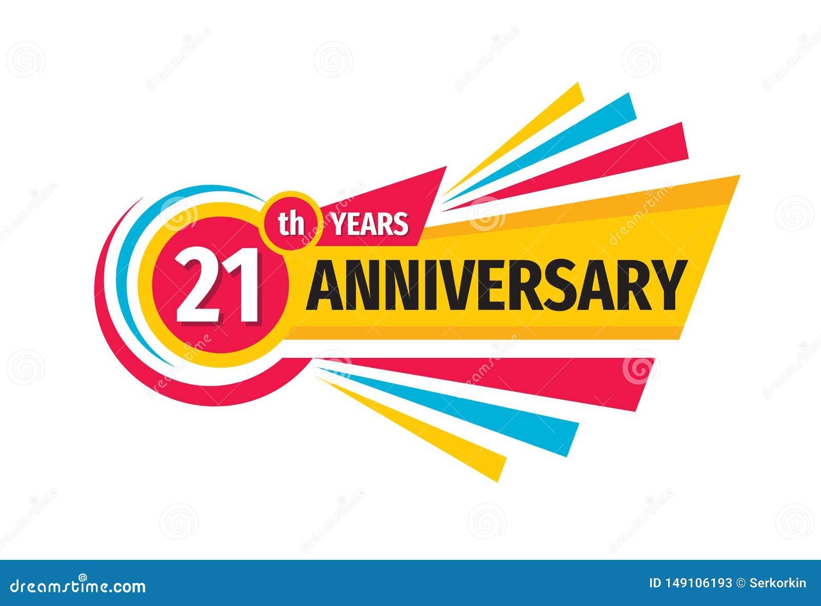 Th-21 het embleemontwerp van de verjaardagsbanner Eenentwintig jaar van het verjaardagskenteken het embleem Abstracte geometrisch
