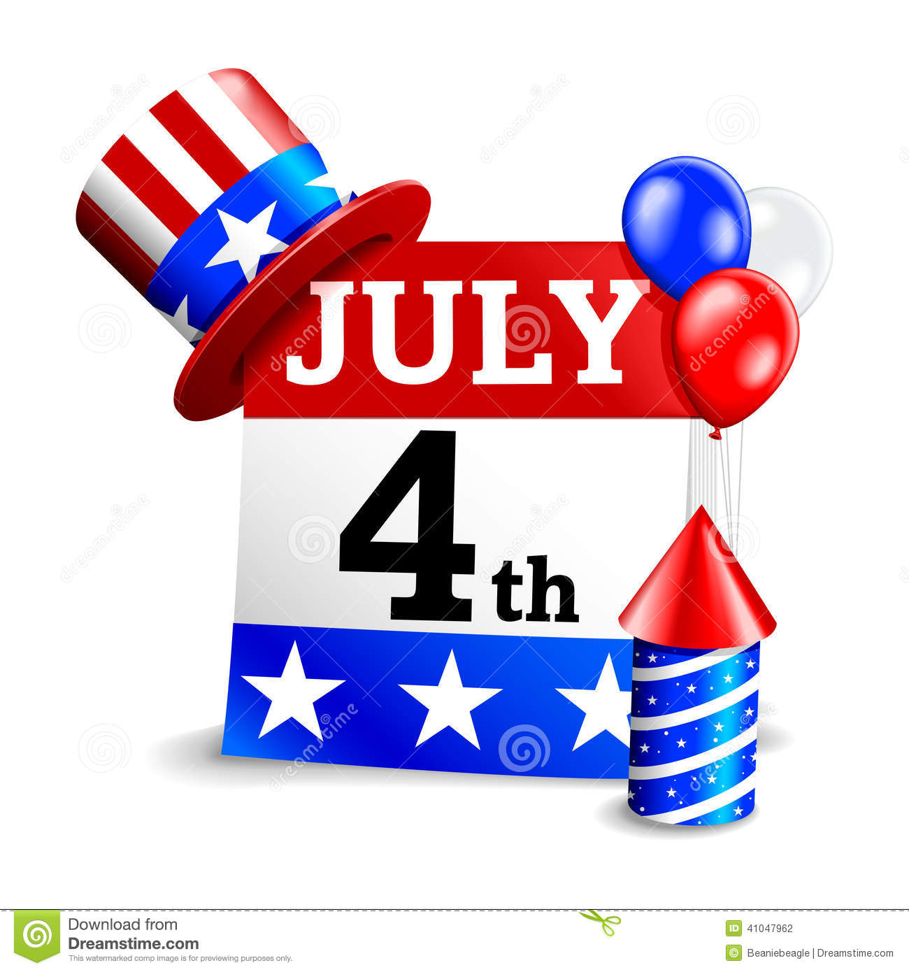 4th Of July Calendar Icon Stock Vector - Image: 41047962