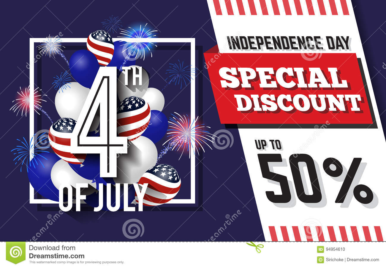 july celebration discount promotion background design with balloon and fireworks american independence day sale promotion banner vector illustration
