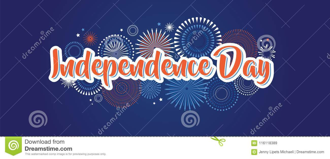 4th july fireworks background, fourth vector banner, american national flag decoration, celebration usa independence day