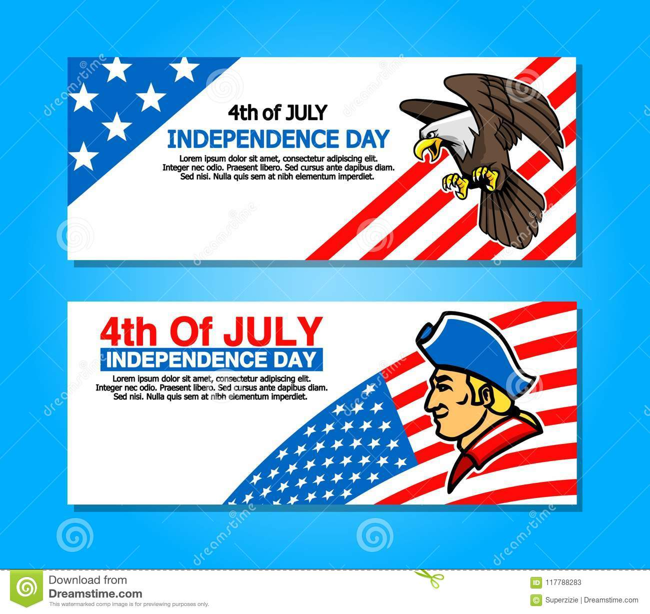 4th Of July Greetings Banner Stock Illustration Illustration Of