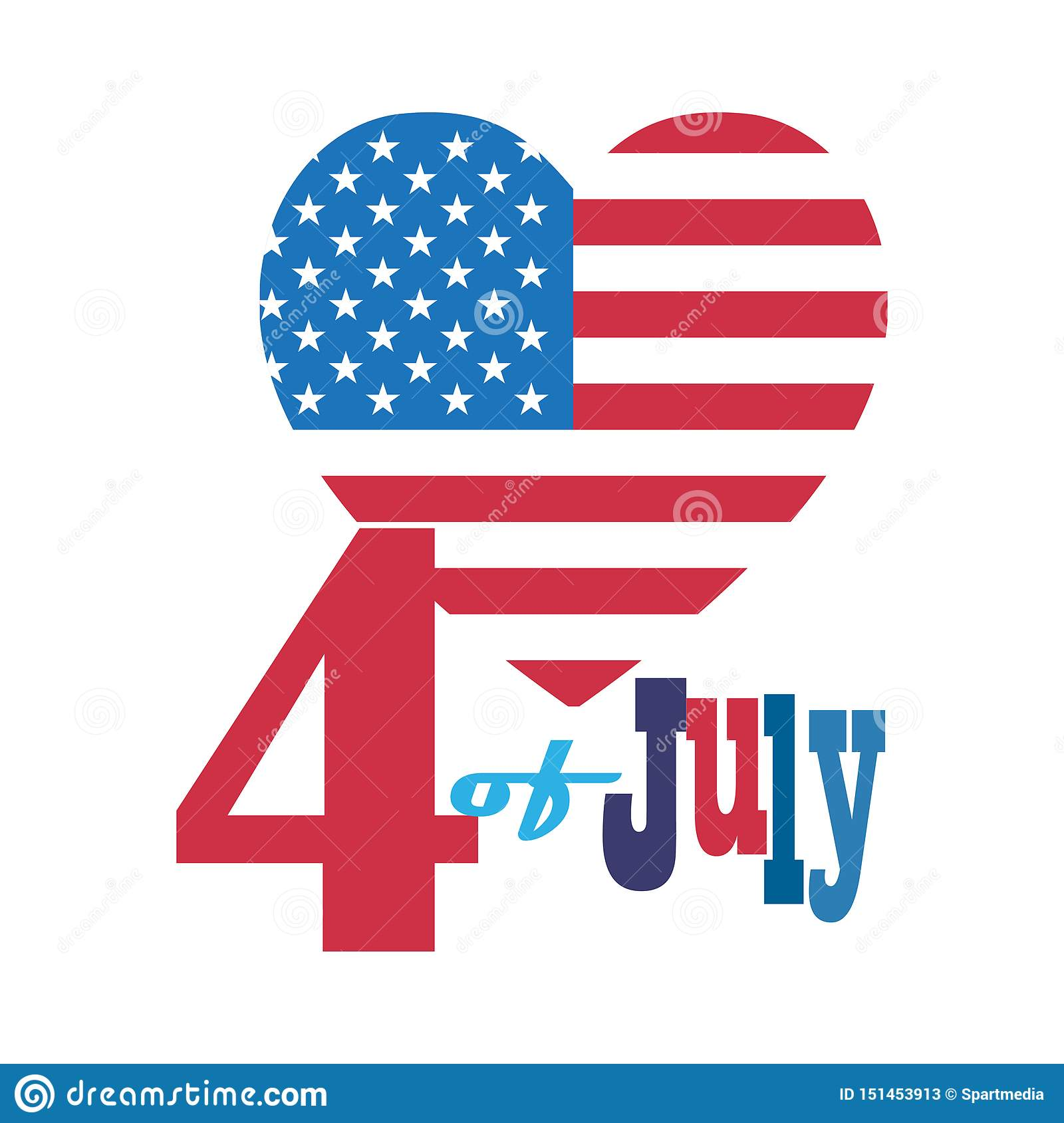 4th of July Happy Independence Day symbols icons set Patriotic American flag, stars fireworks confetti balloons ribbon banner