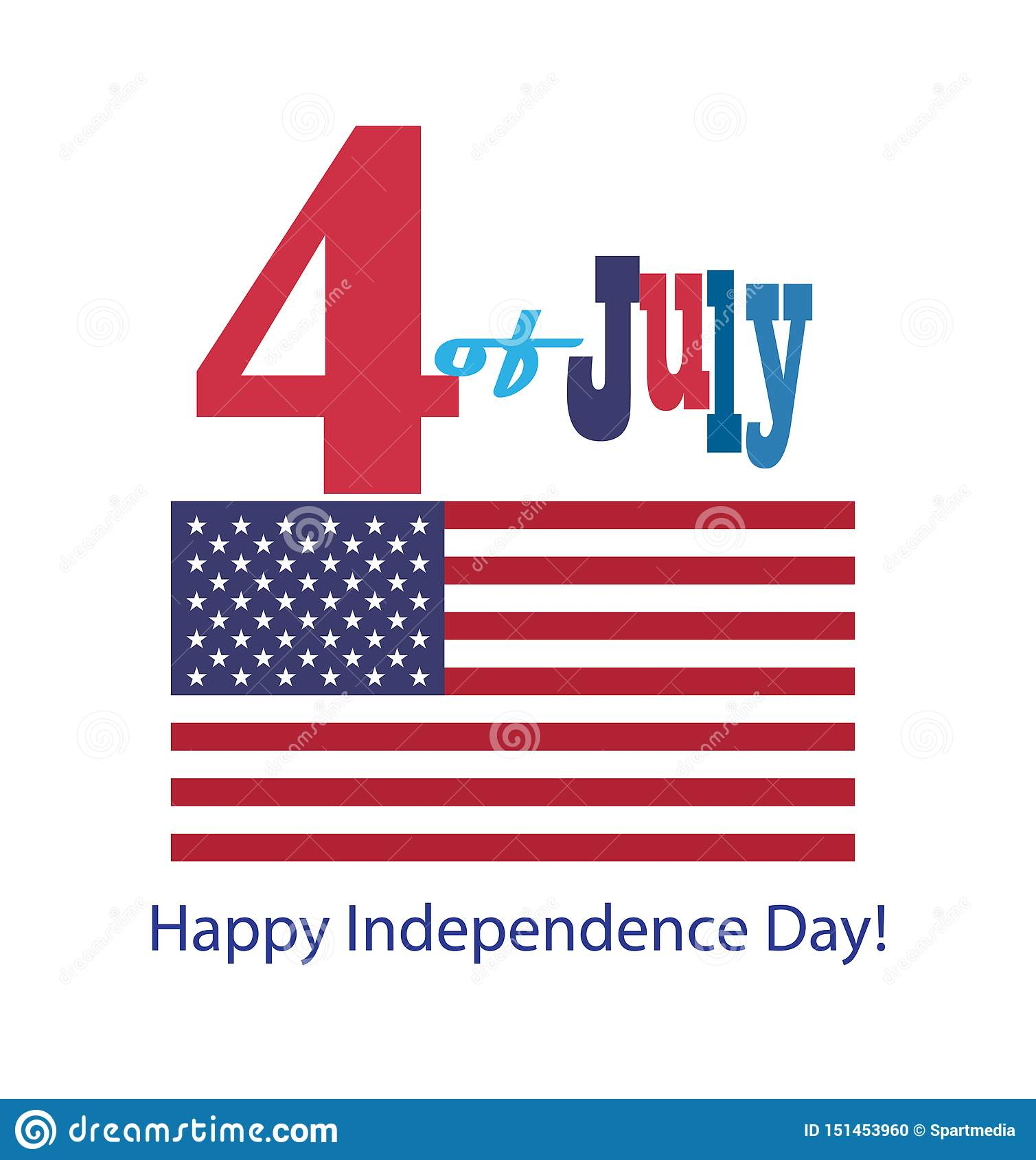 4th of July Happy Independence Day 2019 Greeting card poster Patriotic American flag, stars symbols icons logo design banner sign
