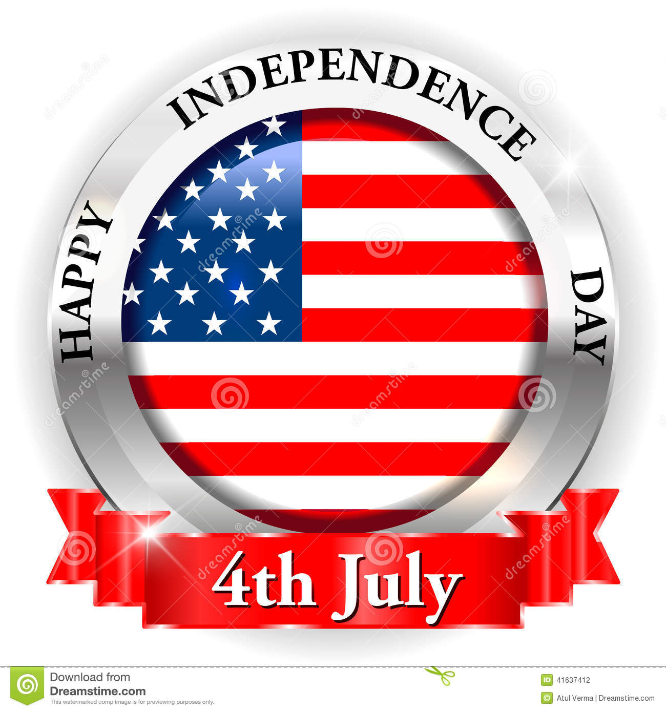 4th July Happy Independence Day On USA Badge With Ribbon Stock