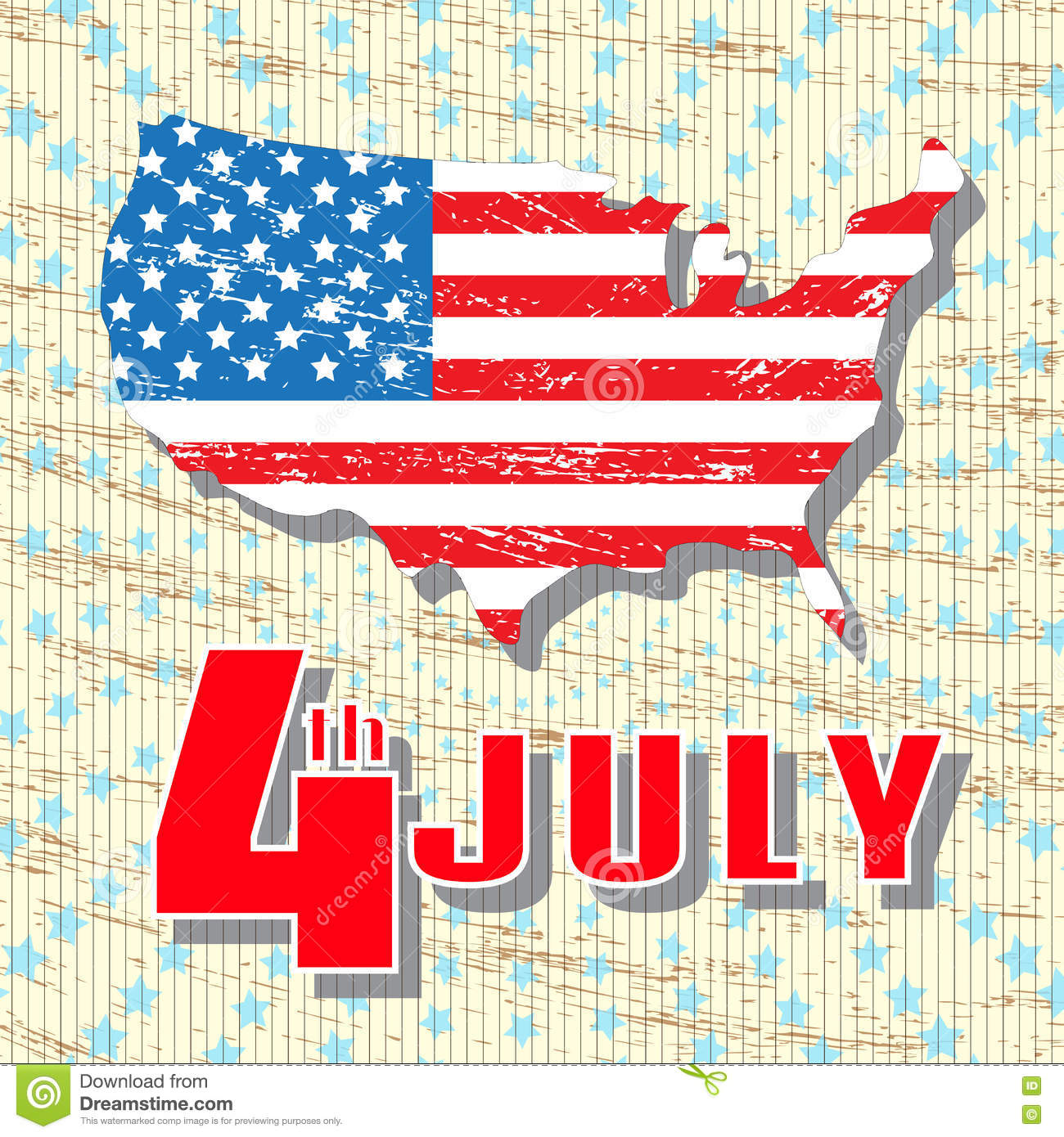 4th of July. Holiday Independence Day July 4th. Greeting vintage, retro card. Map of America in colors of the national flag