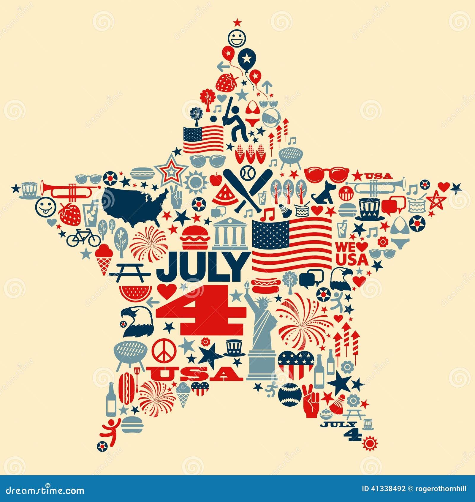 4th Of July Icon Symbols Collage Illustration T Sh Stock
