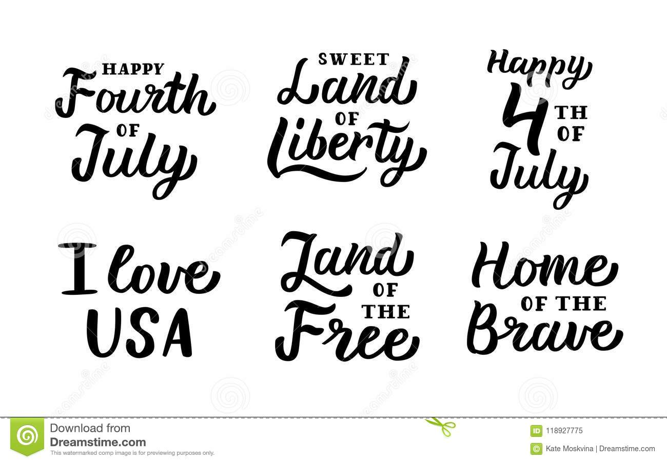 4th of July lettering set stock vector  Illustration of