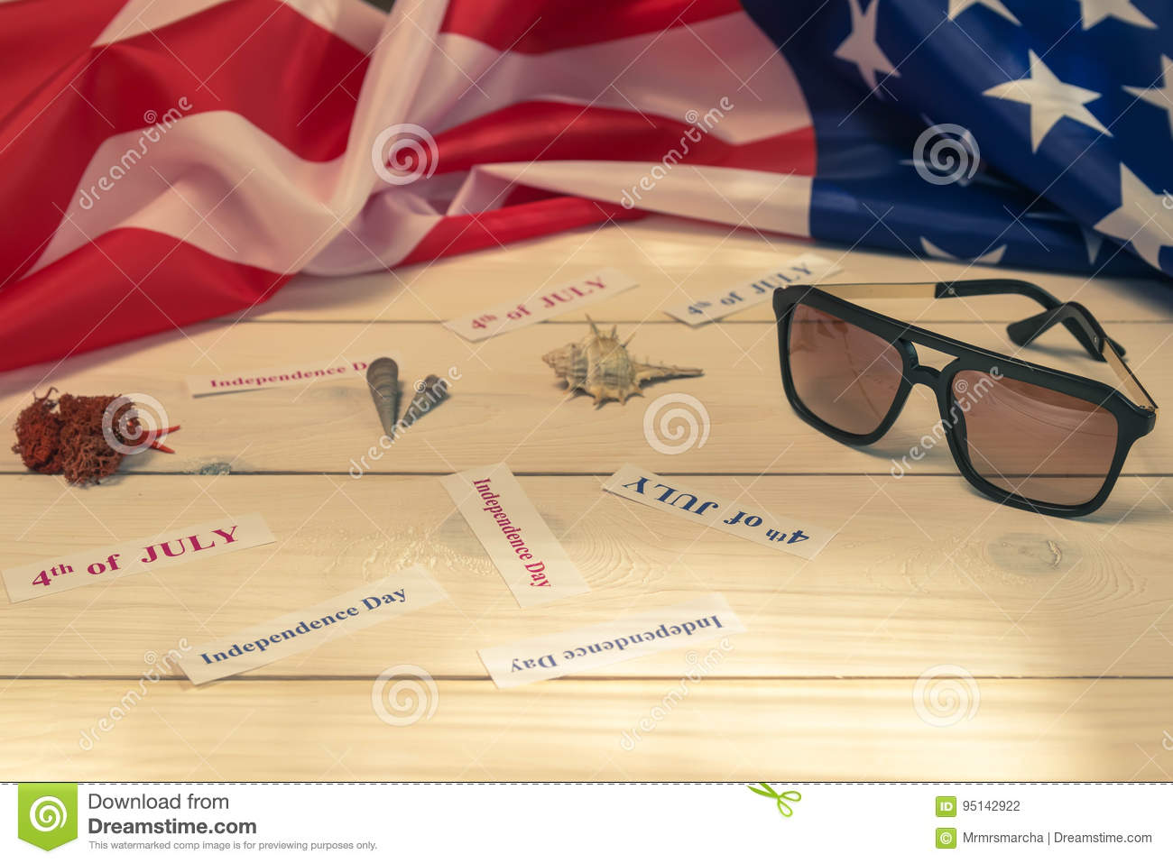 4th of July, the US Independence Day, wood background, American flag, shells, weekends, holidays, sunglasses