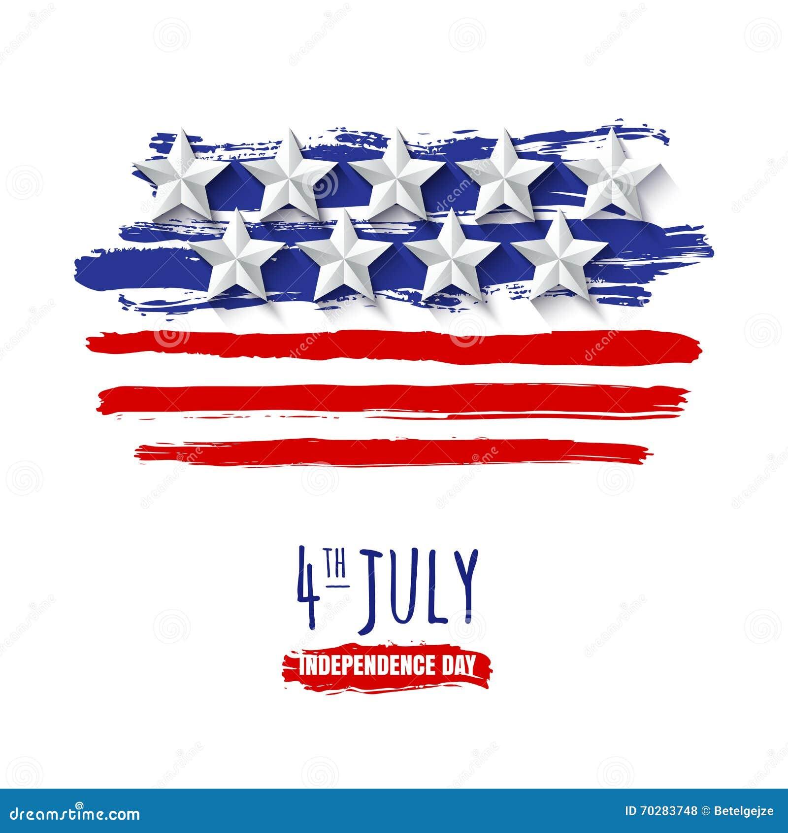 4th Lipiec, usa dzień niepodległości Wektorowy akwareli tło z 3d papieru gwiazdami