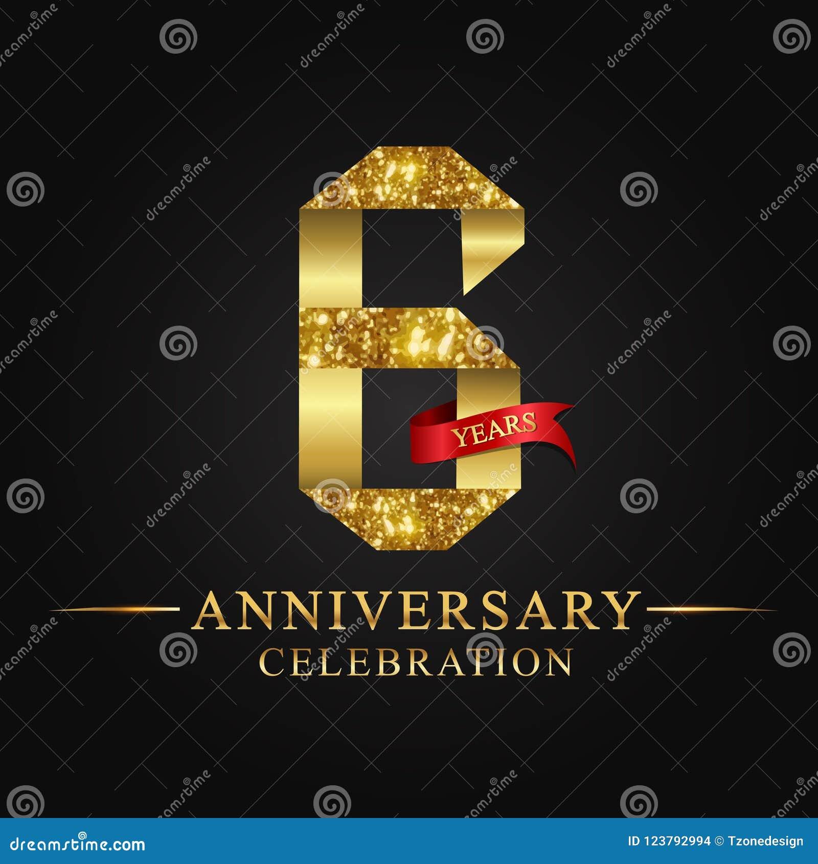 6th logotyp för årsdagårsberöm Guld- nummer för logoband och rött band på svart bakgrund