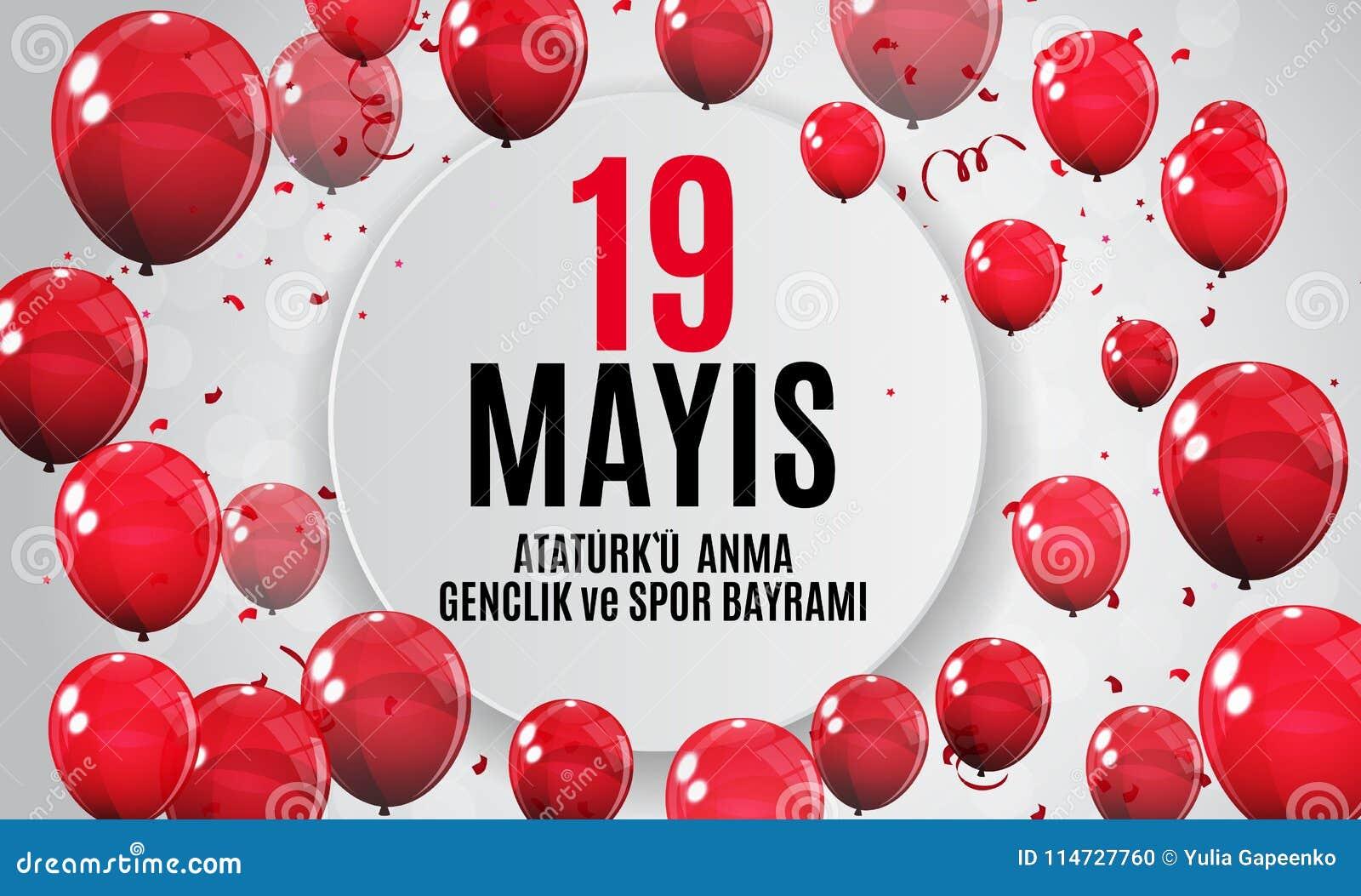 19th may commemoration of Ataturk, youth and sports day Turkish Speak: 19 mayis Ataturk`u anma, genclik ve spor bayrami