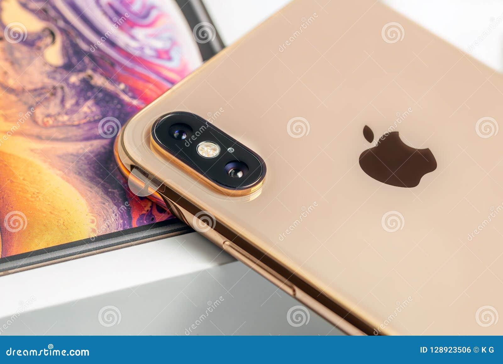 12th October 2018 Kiev Ukraine Latest Iphone Xs On Opened Box On
