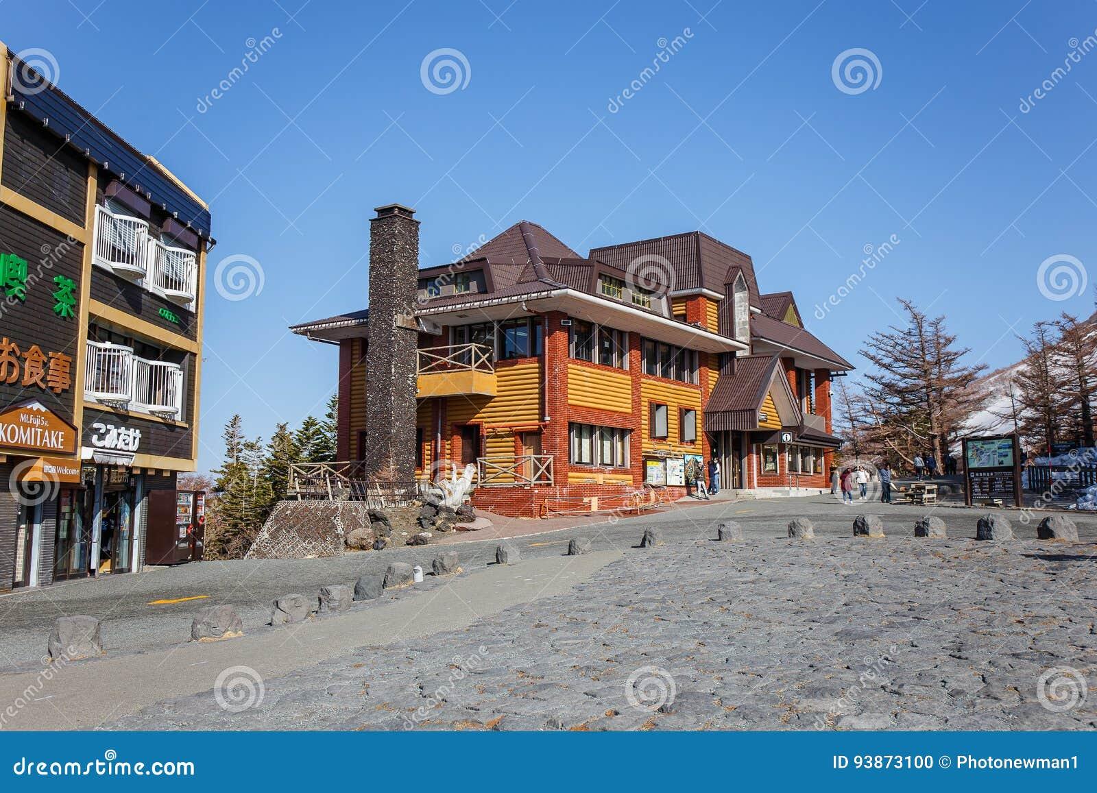 5th podłogowy turystyczny punkt który jest midpoint między Yoshida śladem i Fujiyoshida Sengen świątynią przy bazą m,